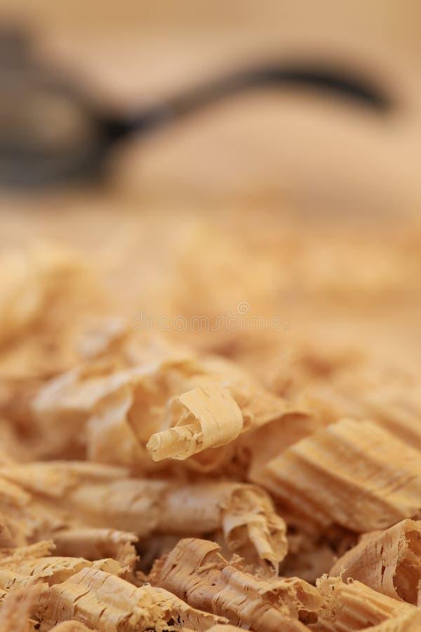 Tablero Chip Shavings de la madera dura de Sapele del rebajador de radios fotografía de archivo libre de regalías