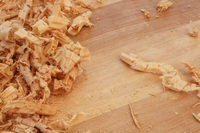 Tablero Chip Shavings de la madera dura de Sapele del rebajador de radios fotografía de archivo
