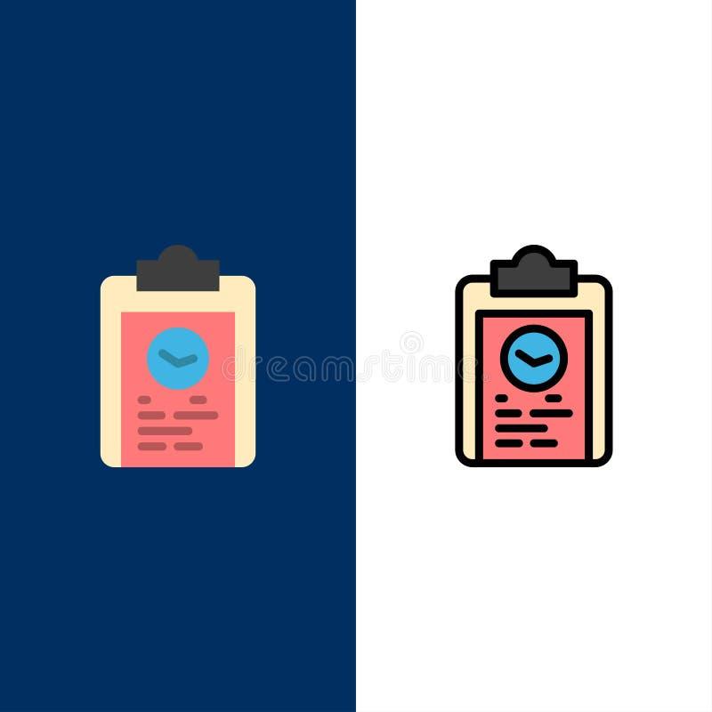 Tablero, coche, plan, progreso, iconos del entrenamiento El plano y la línea icono llenado fijaron el fondo azul del vector stock de ilustración