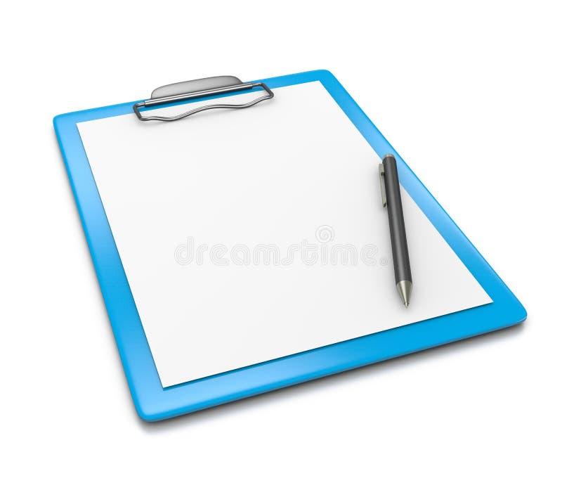 Tablero con el bolígrafo del papel en blanco y ilustración del vector