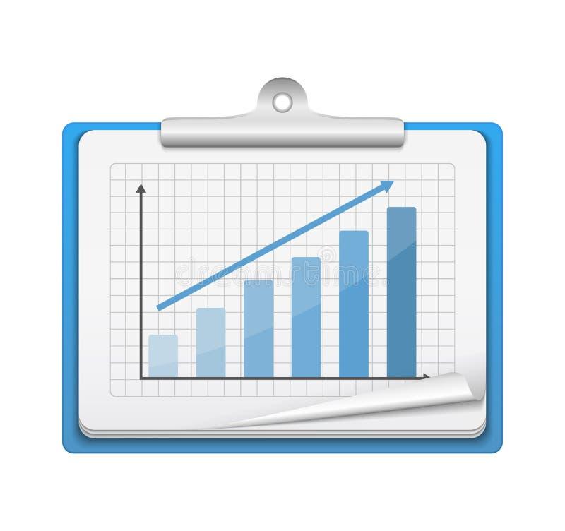Tablero con el gráfico de barra stock de ilustración
