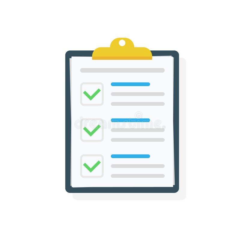 Tablero con el icono de la lista de control Tareas completas de la lista de control, lista de lío, encuesta, conceptos del examen stock de ilustración