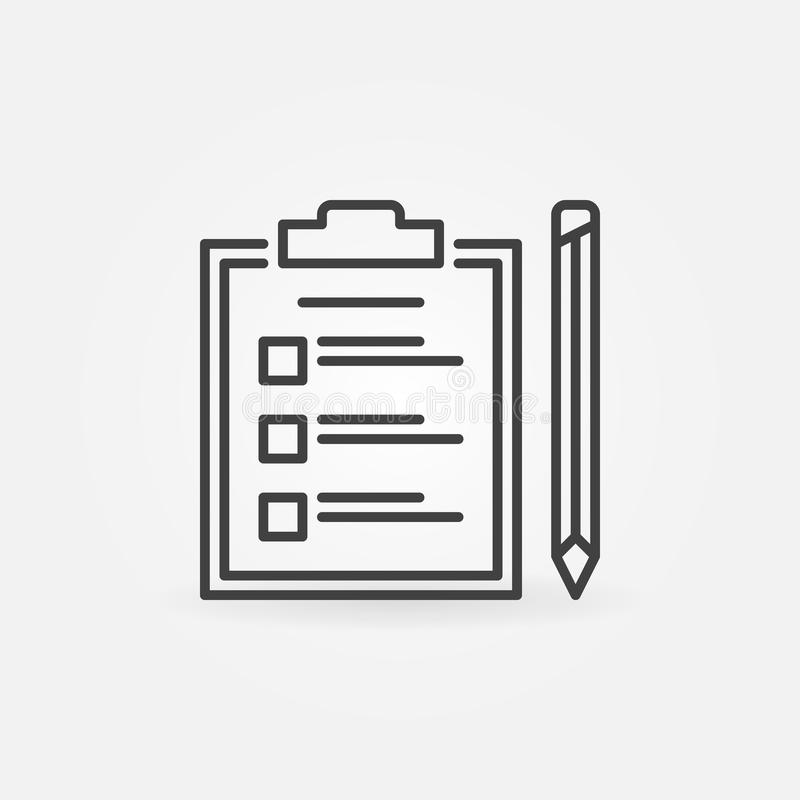 Tablero con el icono del esquema de la lista de control y del vector del lápiz ilustración del vector