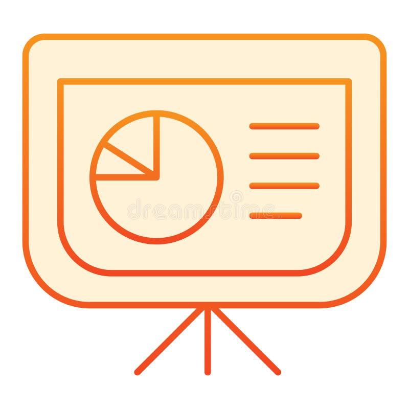 Tablero con el icono plano del gráfico de sectores Represente los iconos gráficamente anaranjados en estilo plano de moda Diseño  ilustración del vector