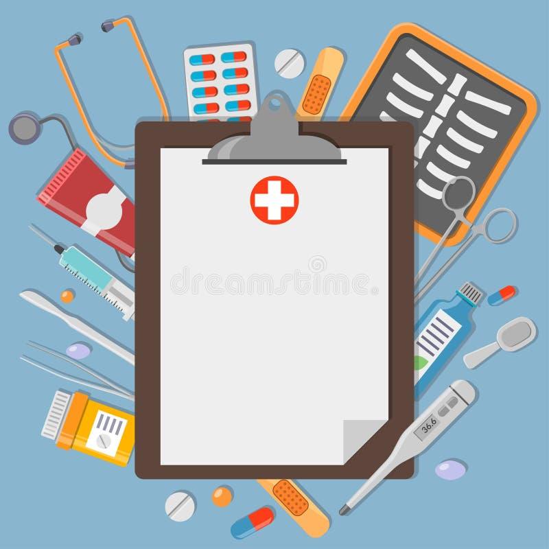 Tablero con los elementos médicos stock de ilustración