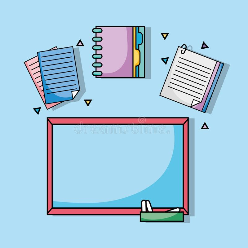Tablero con los papeles del cuaderno y los uetensils del documento ilustración del vector