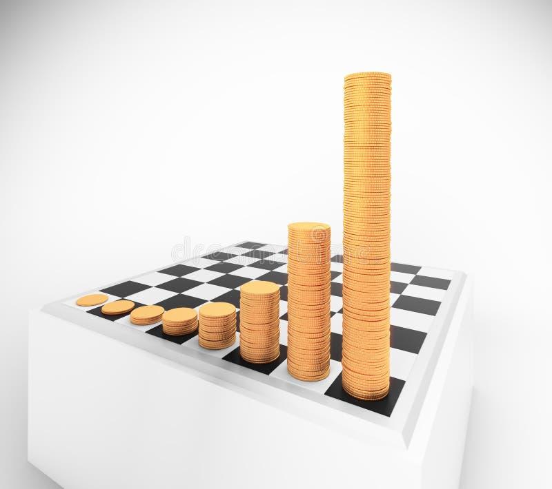 Tablero de ajedrez con las pilas crecientes de las monedas de la altura ilustración del vector
