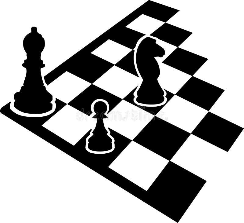 Tablero de ajedrez con los iconos del ajedrez ilustración del vector