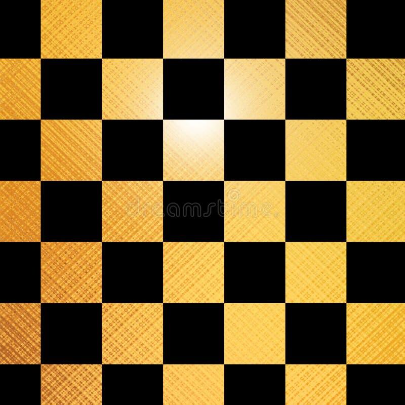 Tablero de ajedrez de oro ilustración del vector