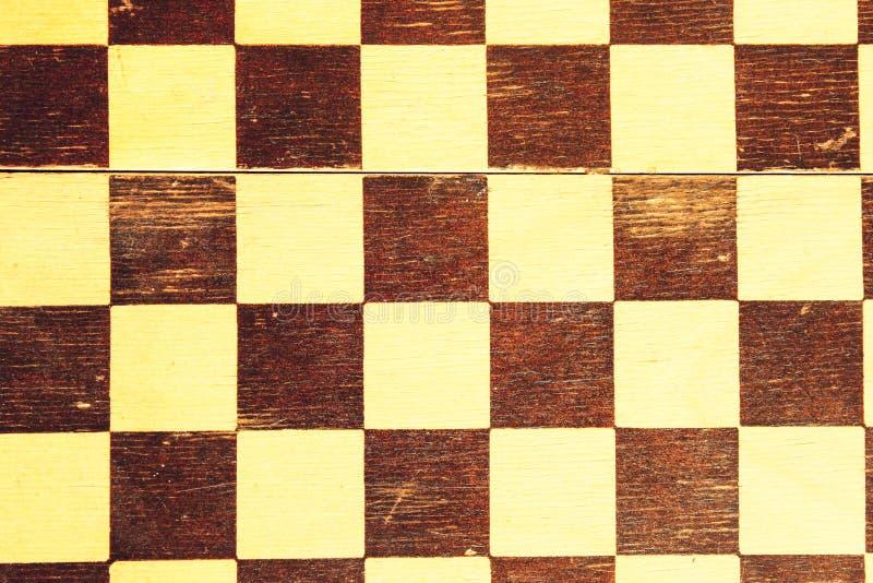 Tablero de ajedrez de madera del viejo de la tela escocesa cuadrado del vintage imagen de archivo libre de regalías