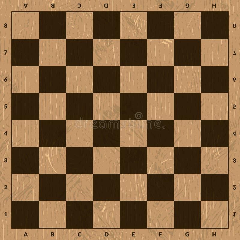 Tablero de ajedrez marrón de madera vacío ilustración del vector