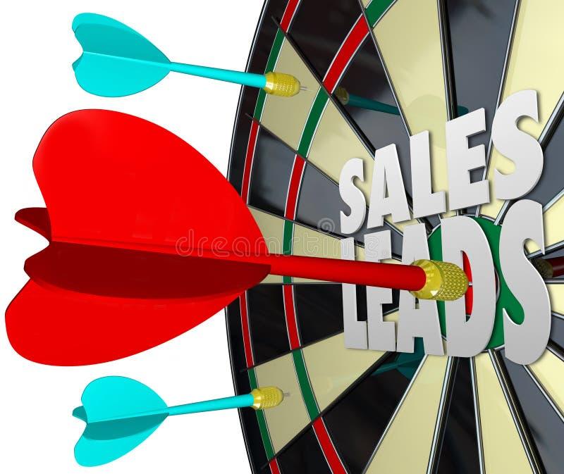 Tablero de dardo de las ventajas de las ventas que vende a clientes de las perspectivas ilustración del vector