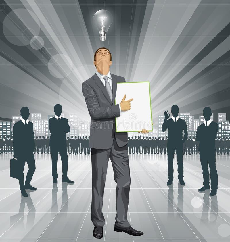 Tablero de With Empty Write del hombre de negocios del vector ilustración del vector