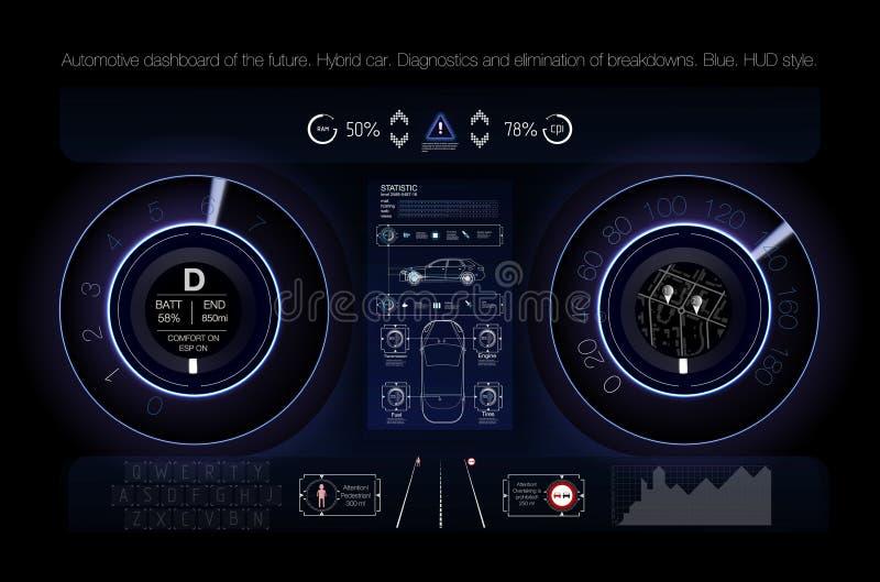 Tablero de instrumentos automotriz del futuro Coche híbrido Diagnósticos y eliminación de averías azul Estilo de Hud Imagen del v stock de ilustración