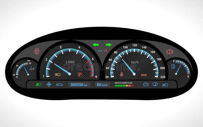 Tablero de instrumentos del coche aislado ilustración del vector