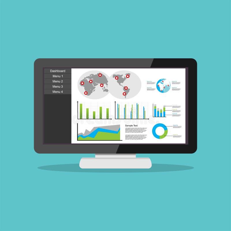 Tablero de instrumentos del negocio en interfaz del ordenador Concepto visual del informe de los gráficos de la carta de negocio libre illustration