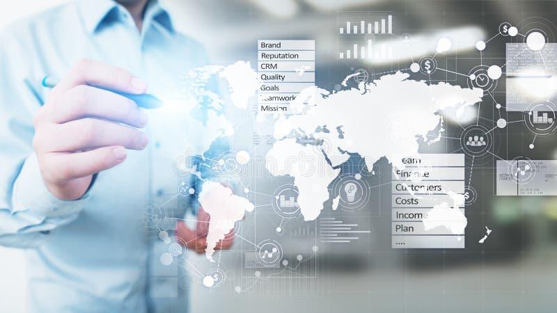Tablero de instrumentos del negocio y de la estrategia de marketing, panel de control del an?lisis de datos en la pantalla virtua foto de archivo libre de regalías