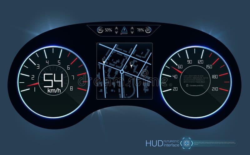 tablero de instrumentos de HUD del coche Interfaz de usuario gráfica virtual abstracta del tacto Interfaz de usuario futurista HU ilustración del vector