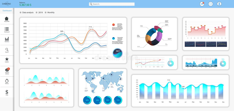 Tablero de instrumentos informativo y simple stock de ilustración