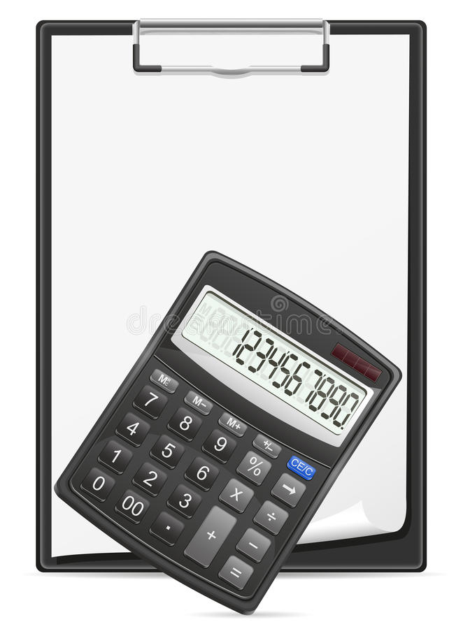 Tablero de la calculadora y hoja de papel en blanco libre illustration