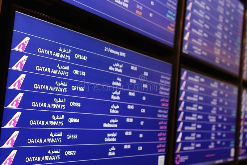 Tablero de la información del aeropuerto fotos de archivo libres de regalías