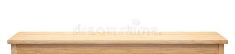 Tablero de la mesa largo de madera de pino aislado en el fondo blanco, representación 3d stock de ilustración