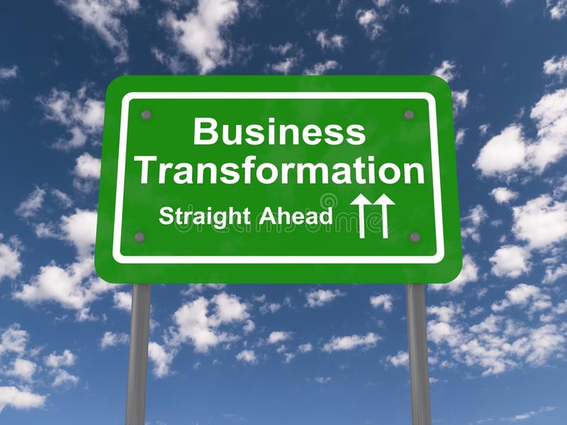 Tablero de la muestra que dice la 'transformación del negocio' imagen de archivo