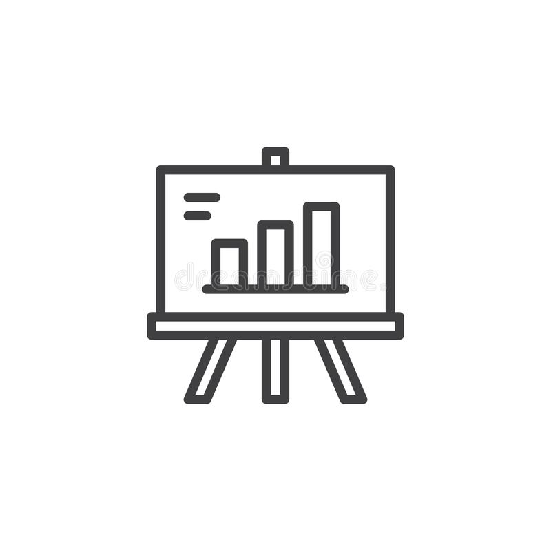 Tablero de la presentación con el icono cada vez mayor del esquema de la carta stock de ilustración
