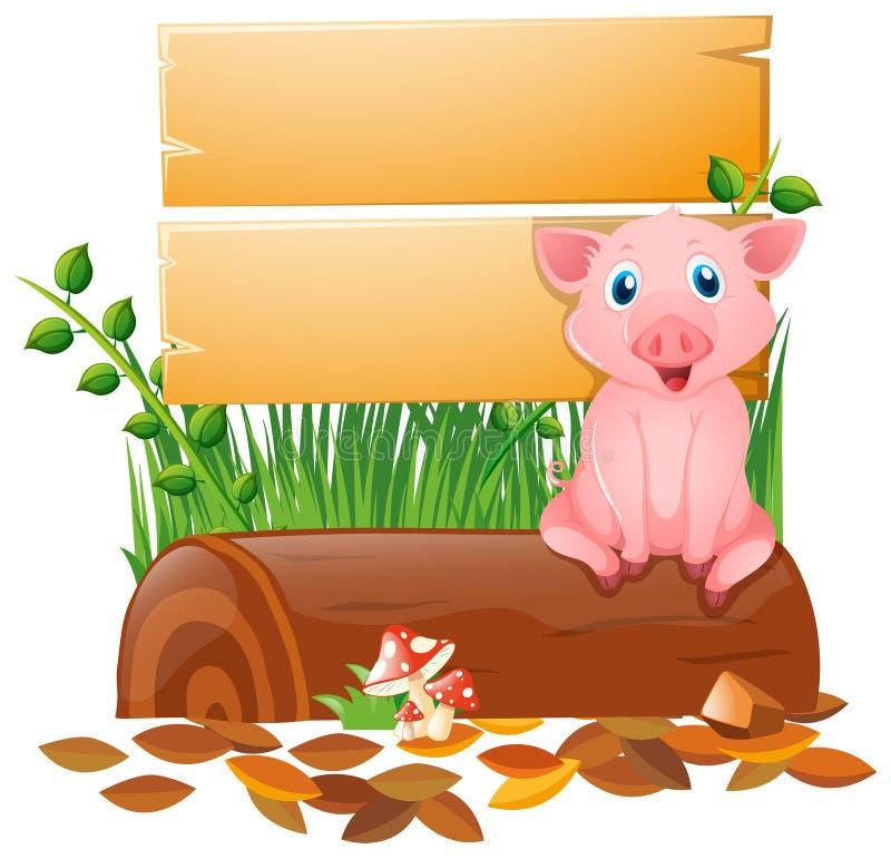 Tablero de madera con el cerdo en el registro ilustración del vector