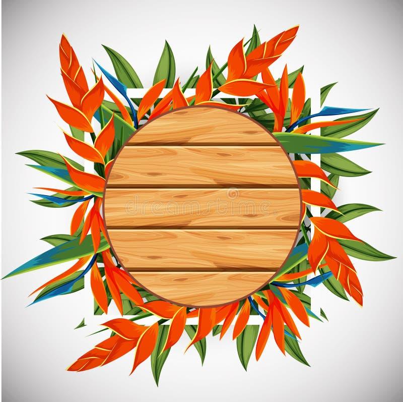 Tablero de madera con la ave del paraíso en fondo libre illustration