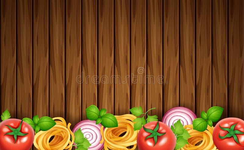 Tablero de madera con las pastas y las verduras frescas ilustración del vector
