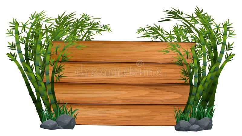 Tablero de madera con los árboles de bambú en fondo stock de ilustración