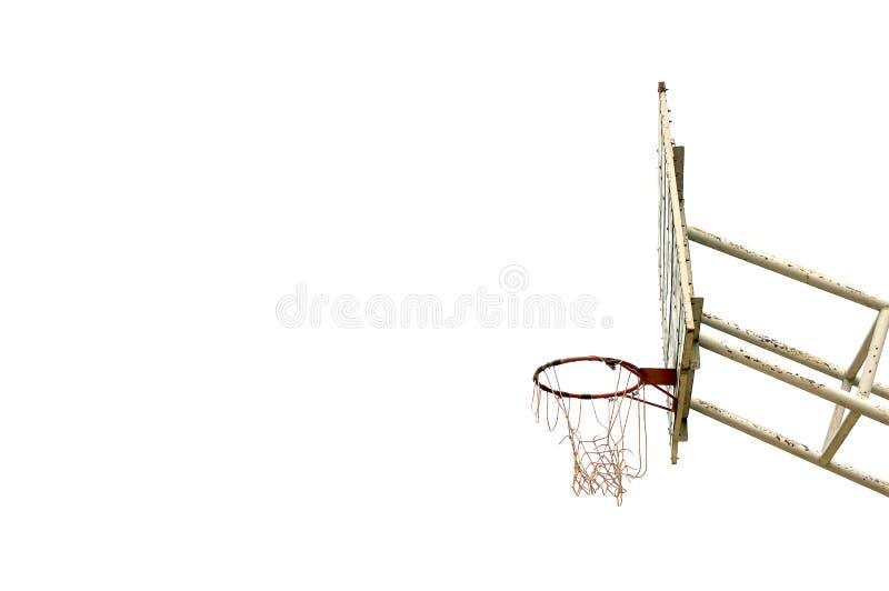 Tablero de madera del baloncesto, sucio, grunge, viejo en el fondo blanco, fotos de archivo