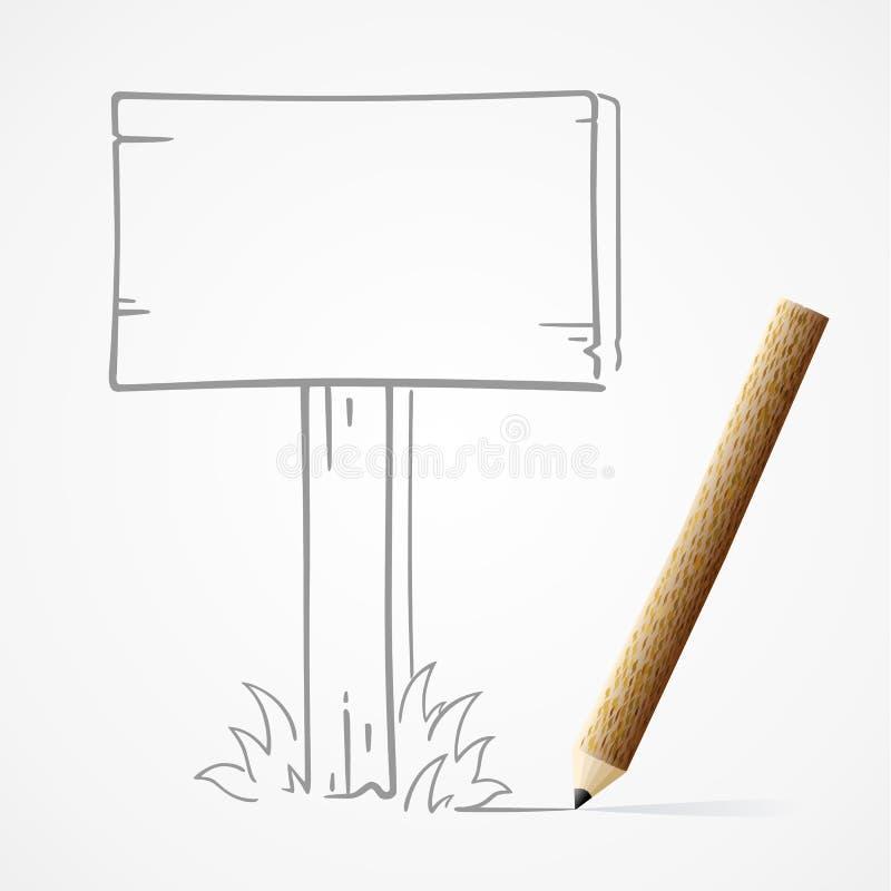Tablero de madera del dibujo de lápiz stock de ilustración