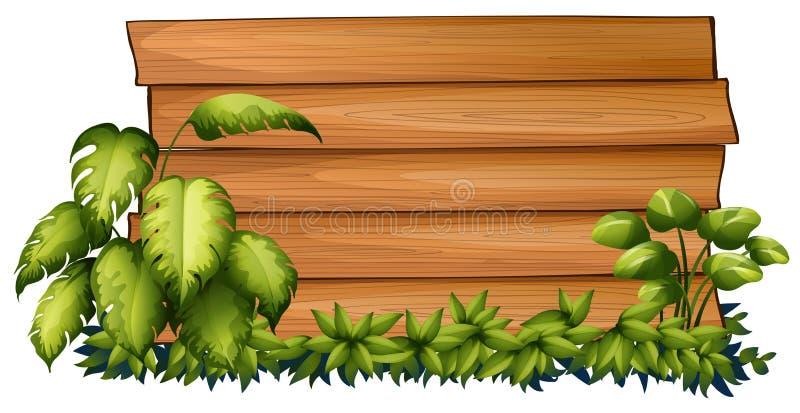 Tablero de madera en arbusto verde ilustración del vector