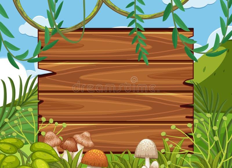Tablero de madera grande en bosque libre illustration