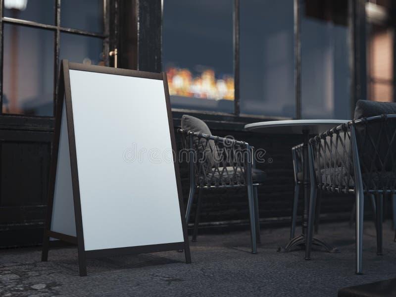 Tablero de madera para el menú del restaurante en la calle de la noche representación 3d stock de ilustración