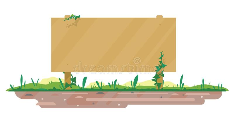 Tablero de madera vacío en la tierra libre illustration
