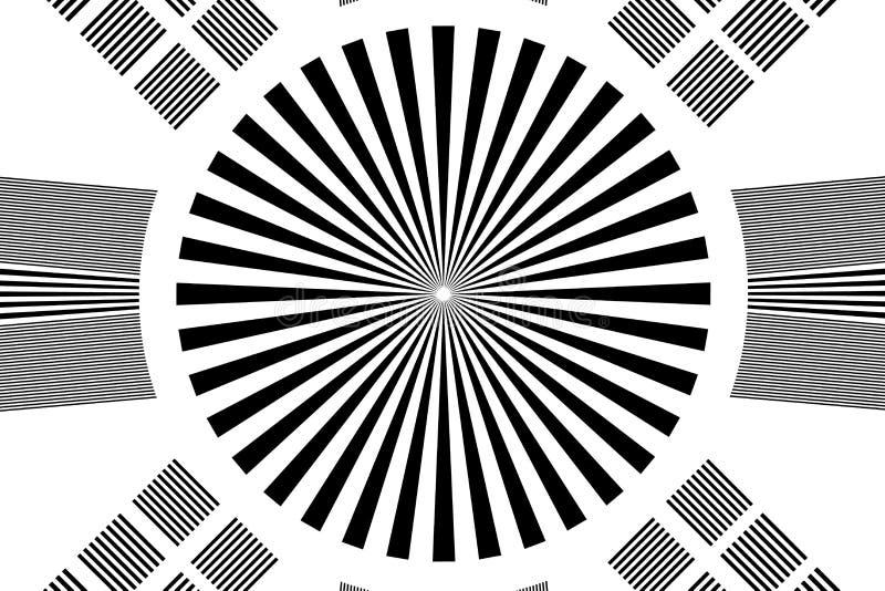 Tablero de prueba blanco y negro de la c?mara y de la lente stock de ilustración