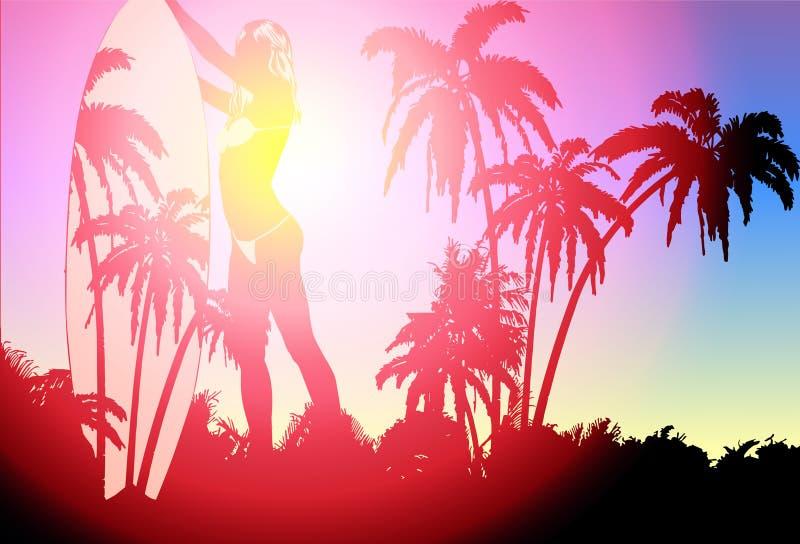Tablero de resaca y bikini y palmeras bonitos jovenes de la mujer Modelo del diseño del vector ilustración del vector