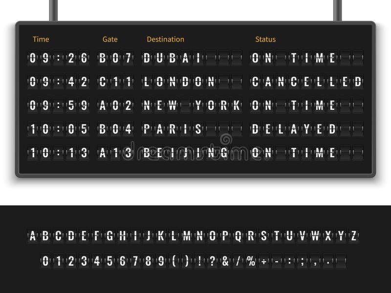 Tablero del aeropuerto Ejemplo terminal del vuelo del destino del calendario de la exhibici?n de la salida de la llegada del pane stock de ilustración