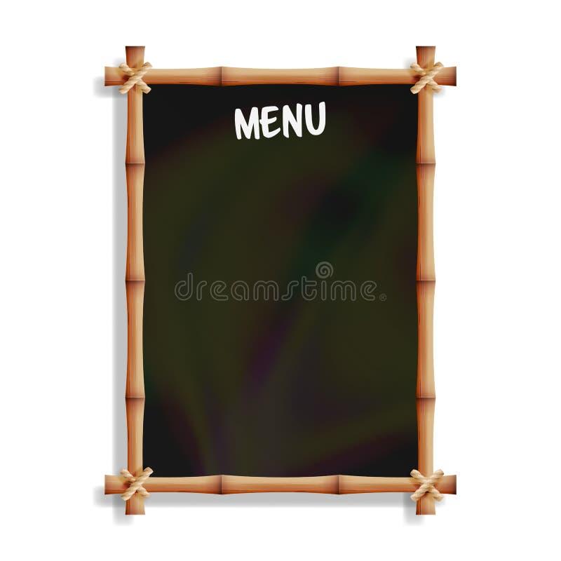 Tablero del menú con el marco de bambú Aislado en el fondo blanco Ejecución negra realista de la pizarra Ilustración del vector ilustración del vector