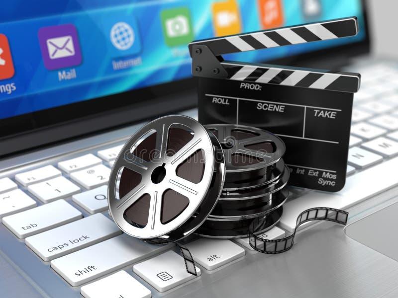 Tablero del ordenador portátil, de la película y de chapaleta - icono video libre illustration