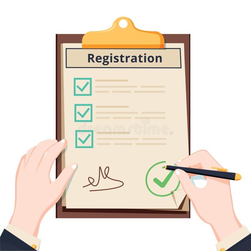 Tablero del registro del control del hombre con el acuerdo disponible del tablero del control del hombre de la lista de control D stock de ilustración