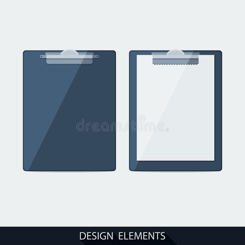Tablero del vector con el papel en blanco stock de ilustración