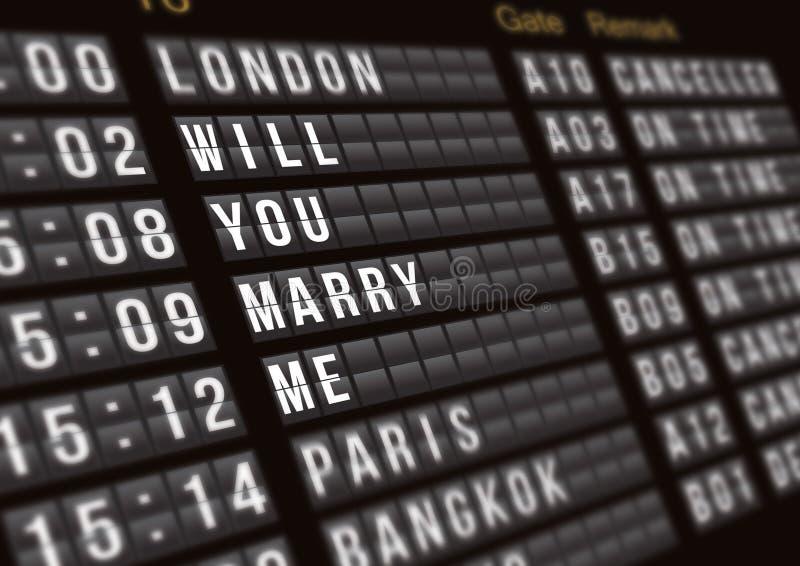 Tablero del vuelo de la salida con la propuesta de matrimonio de la sorpresa, concepto de la oferta imagen de archivo