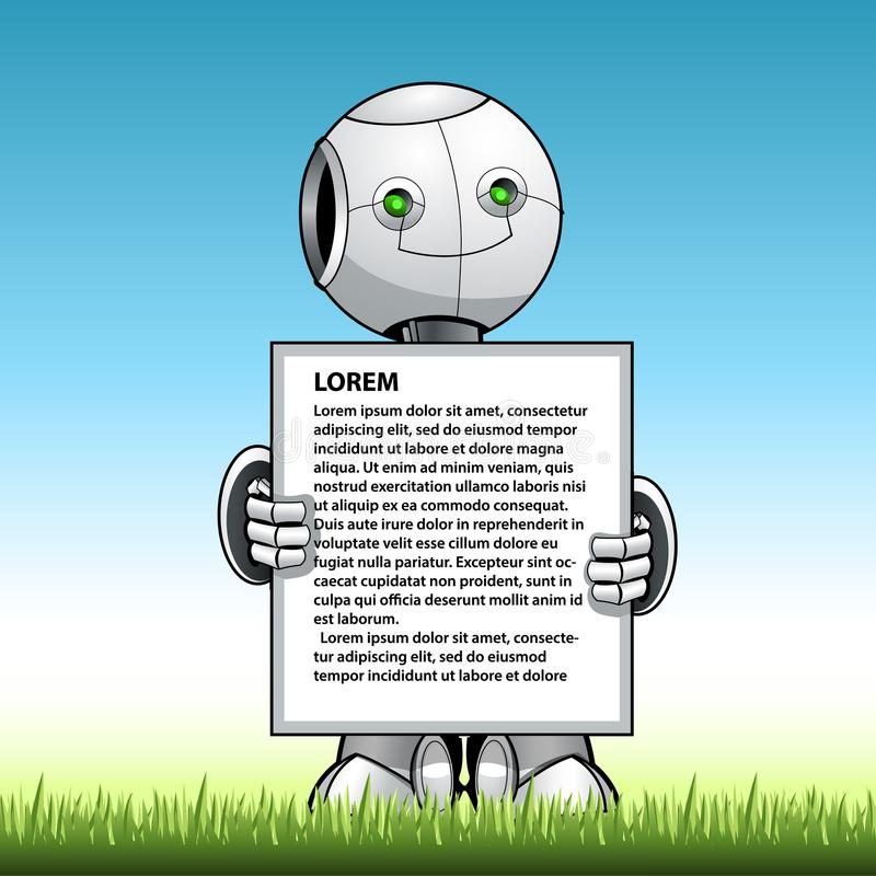 Tablero divertido del anuncio de la demostración del robot del niño ilustración del vector