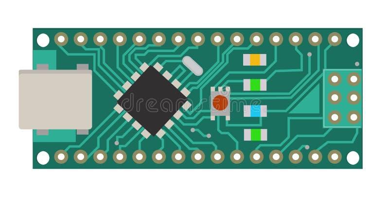Tablero electrónico de DIY mini con un microcontrolador, el LED, los conectores, y otros componentes electrónicos, formar el bási stock de ilustración