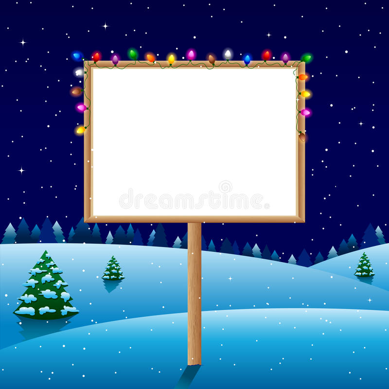 Tablero en blanco el noche del invierno con las luces de la Navidad imagen de archivo libre de regalías