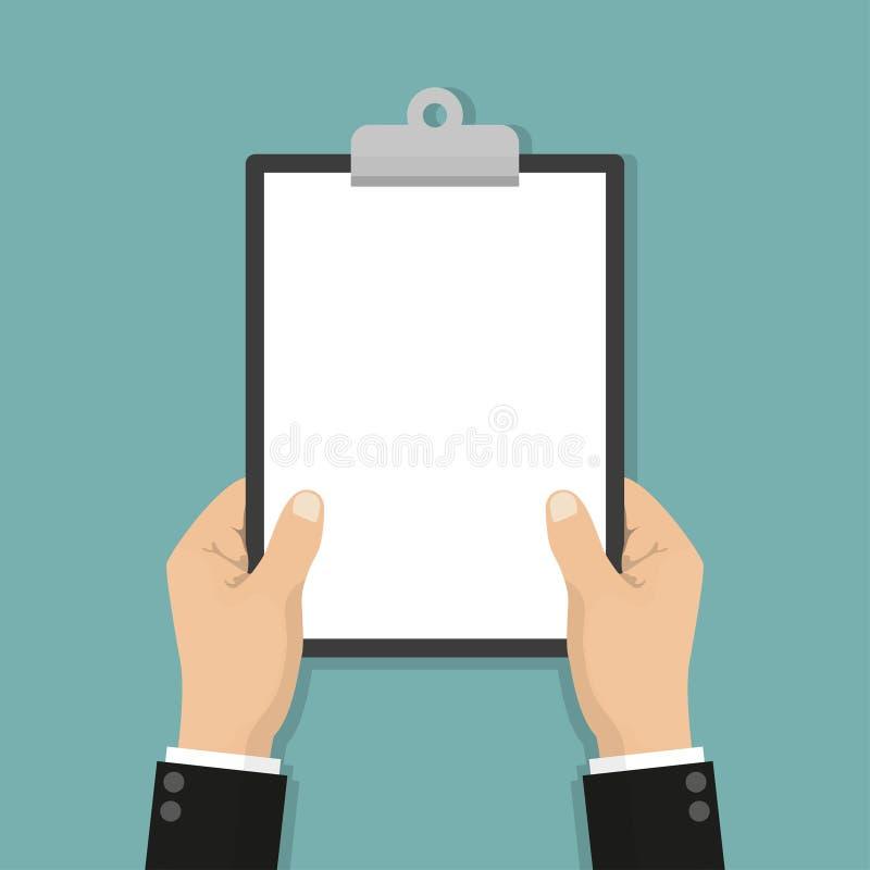 Tablero en blanco en hombre de negocios de las manos Espacio vacío para el texto Libro Blanco de la hoja en blanco ilustración del vector